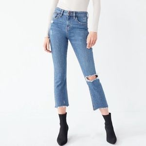BDG Kick Flare High Rise Cropped Jean - Distressed